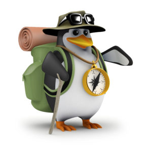 3d Penguin Hiker guides the party to safety